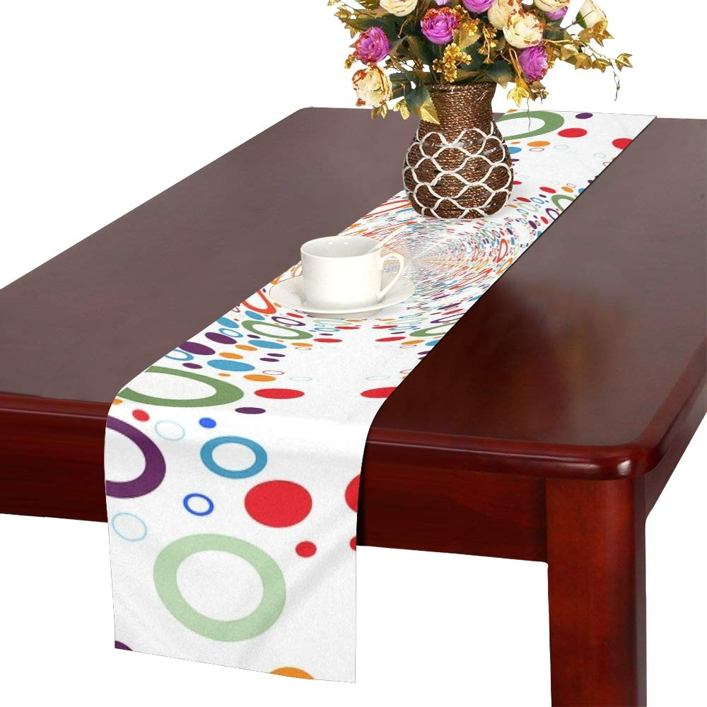 Jnseff Pattern Colorful Color Rings Circle Table Runner, Kitchen Dining Table Runner 16 X 72 Inch For Dinner Parties, Events, Decor