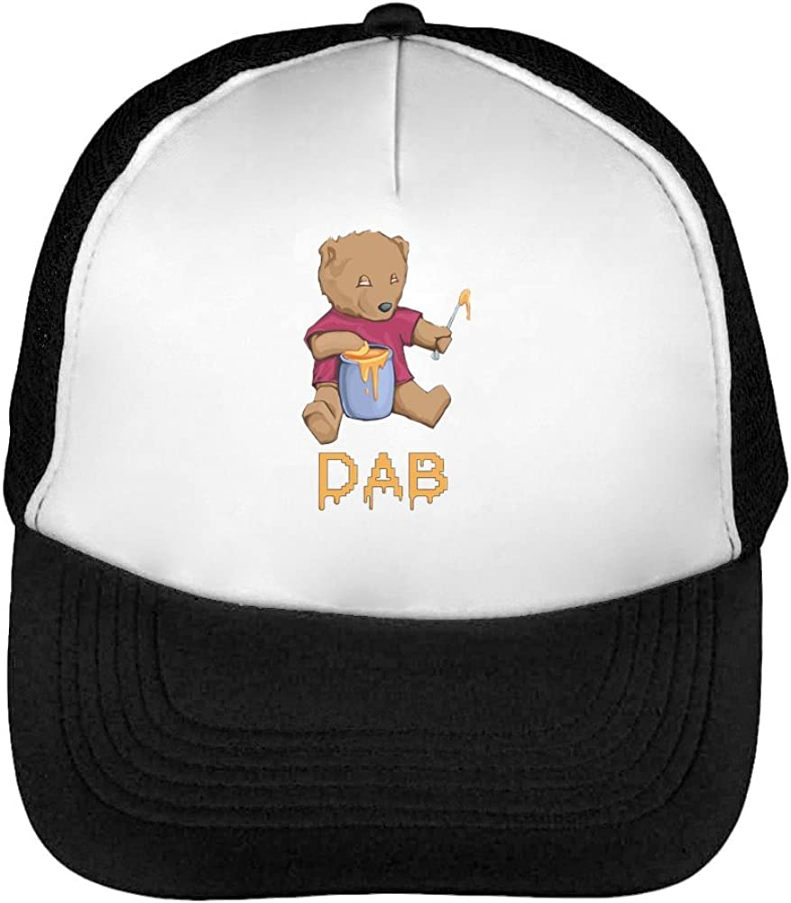 Dab Men's Baseball Trucker Cap Hat Snapback Black White