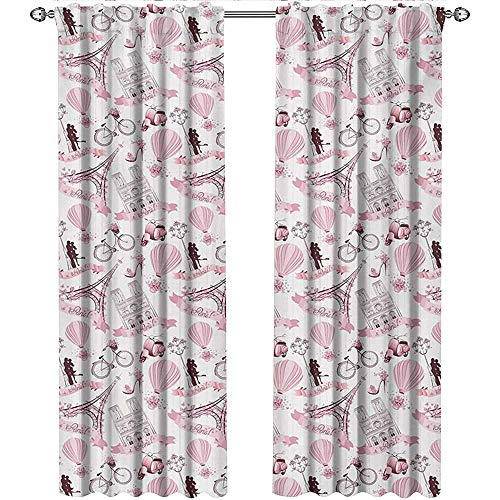 Paris, Curtains Insulated Thermal, Love Valentines Day Theme with Eiffel Kissing Couple Air Balloon Wedding Concept, Curtains Living Room, W108 x L108 Inch, Baby Pink Rose