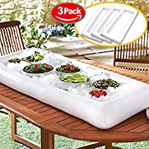 Novelty Place [LARGE SIZE] Inflatable Ice Serving Buffet Bar with Drain Plug - Salad Food & Drinks Tray for Party Picnic & Camping (Pack of 3)