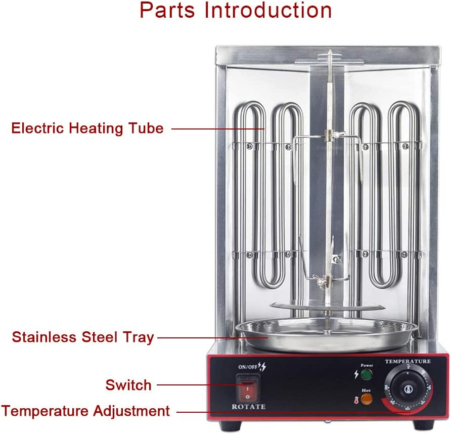 YOOYIST Electric Vertical Broiler Shawarma Doner Kebab Gyro Grill Machine with Meat Catch Pan