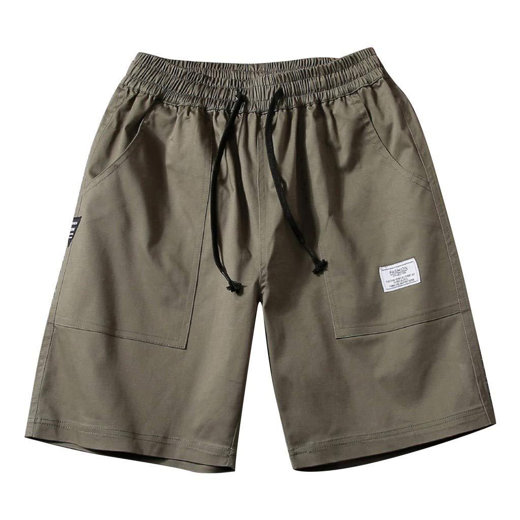 HANANei Short Pants for Men, Summer Casual Fashion Belt Shorts Fashionable Comfortable Large Shorts (3XL=US:L, Army Green)