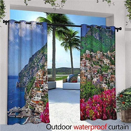 Bar Outdoor Amalfi Table (familytaste Italy Outdoor Blackout Curtains Scenic View of Positano Amalfi Naples Blooming Flowers Coastal Village Image Outdoor Privacy Porch Curtains W120 x L96 Pink Green Blue)