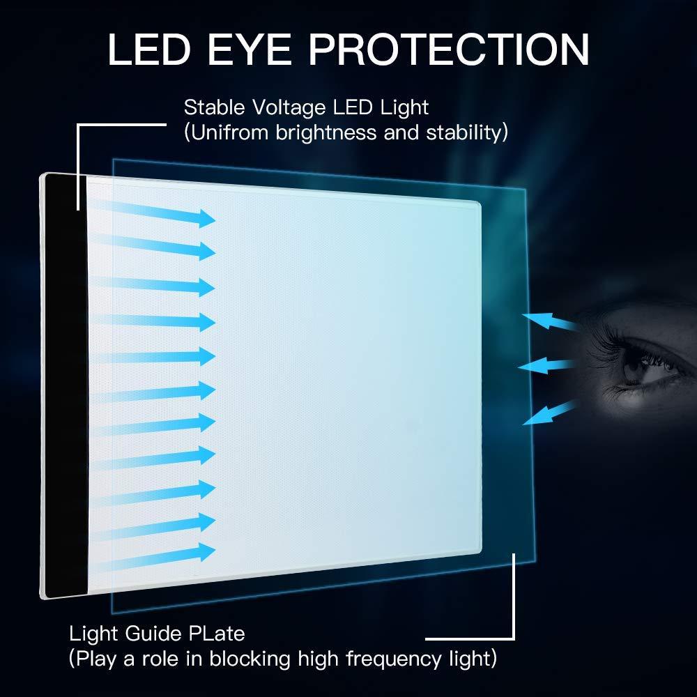 Helligkeit Diamant-Malerei Licht Schablone Zeichnung Tragbare LED-Lichtbox verstellbar Tattoo-Animation A4 Licht-Pad mit USB-Stromkabel f/ür Kinder und Erwachsene Transparenz 3 Stufen