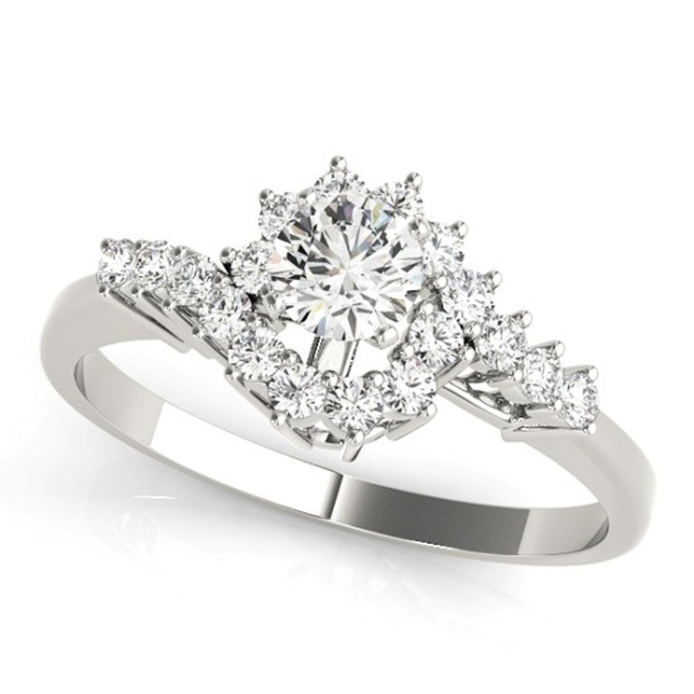 Triostar Valentines Day Jewelry Colleaction 0.24Ct Diamond Studded 14K White Gold Over Bypass Ring