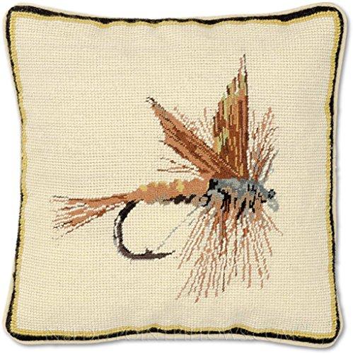 Handmade 100% Wool Needlepoint Camp Lodge Lake Fly Fishing Lure Fish Throw Pillow. 12