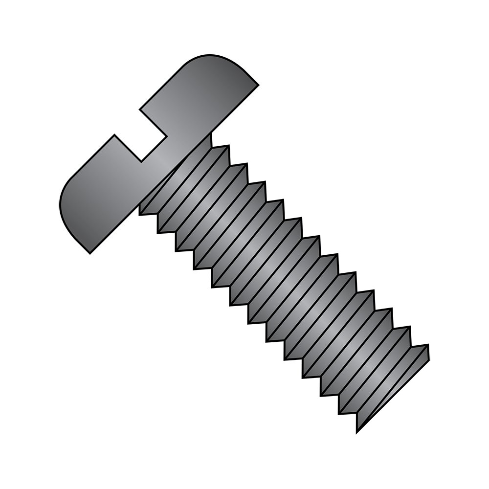 #6-32 Thread Size Black Zinc Plated Steel Pan Head Machine Screw Slotted Drive Imported Meets ASME B18.6.3 Pack of 100 1 Length Fully Threaded