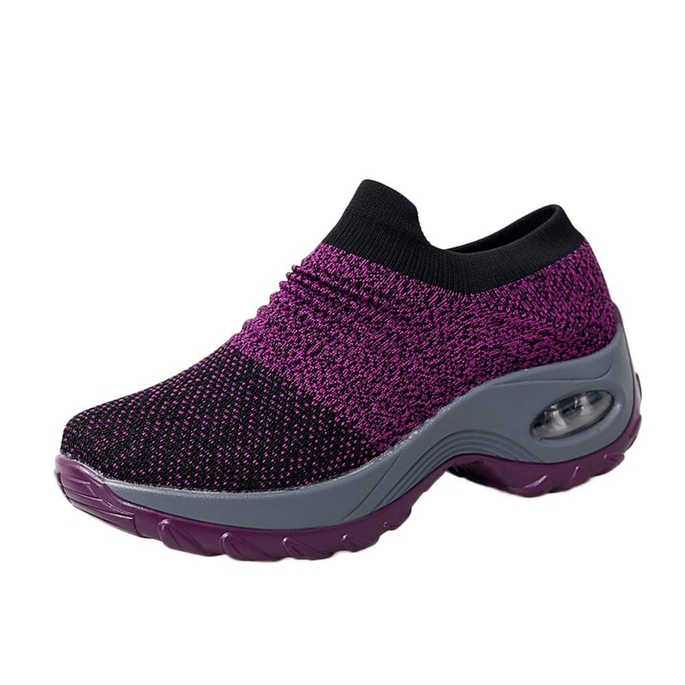Women Casual Walking Sock Sneakers Breathable Slip On Air Cushion Lace Up Lightweight Outdoor Sport Shoes (US :6.5, Purple)
