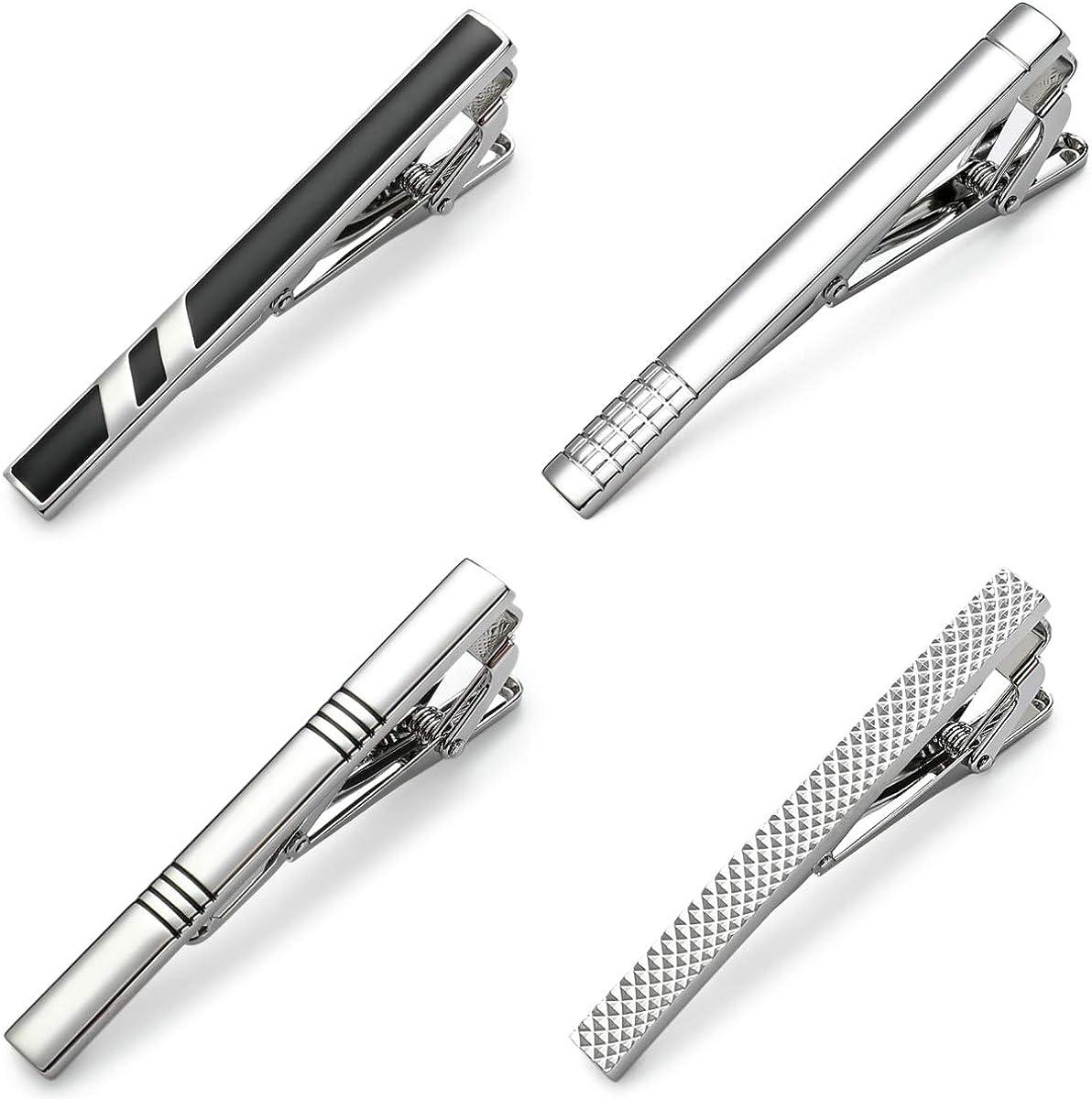 MOZETO Tie Clip, Classic Business Style Tie Clips for Men, Luxury 4pcs Tie Bar Gift Box Set for Regular Necktie
