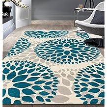 """Rugshop Modern Floral Circles Design Area Rug, 7'6"""" x 9'5"""", Blue"""