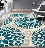 Modern Floral Circles Design Blue 9' x 12' Area Rug