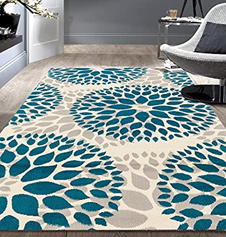 Modern Floral Circles Design Blue 9' x 12' Area Rug (Area Rug 12 By 12)