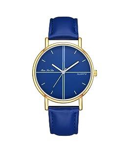 Hot sale!!!Siviki Women New luxury fashion leather strap analog quartz round watch (blue)
