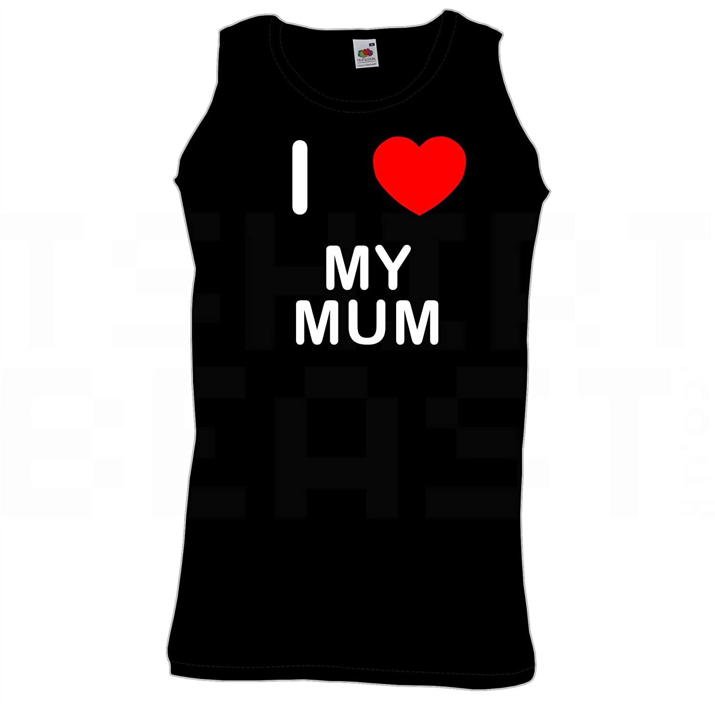 I Love Heart My Mum Quality Printed Cotton Gym Vest