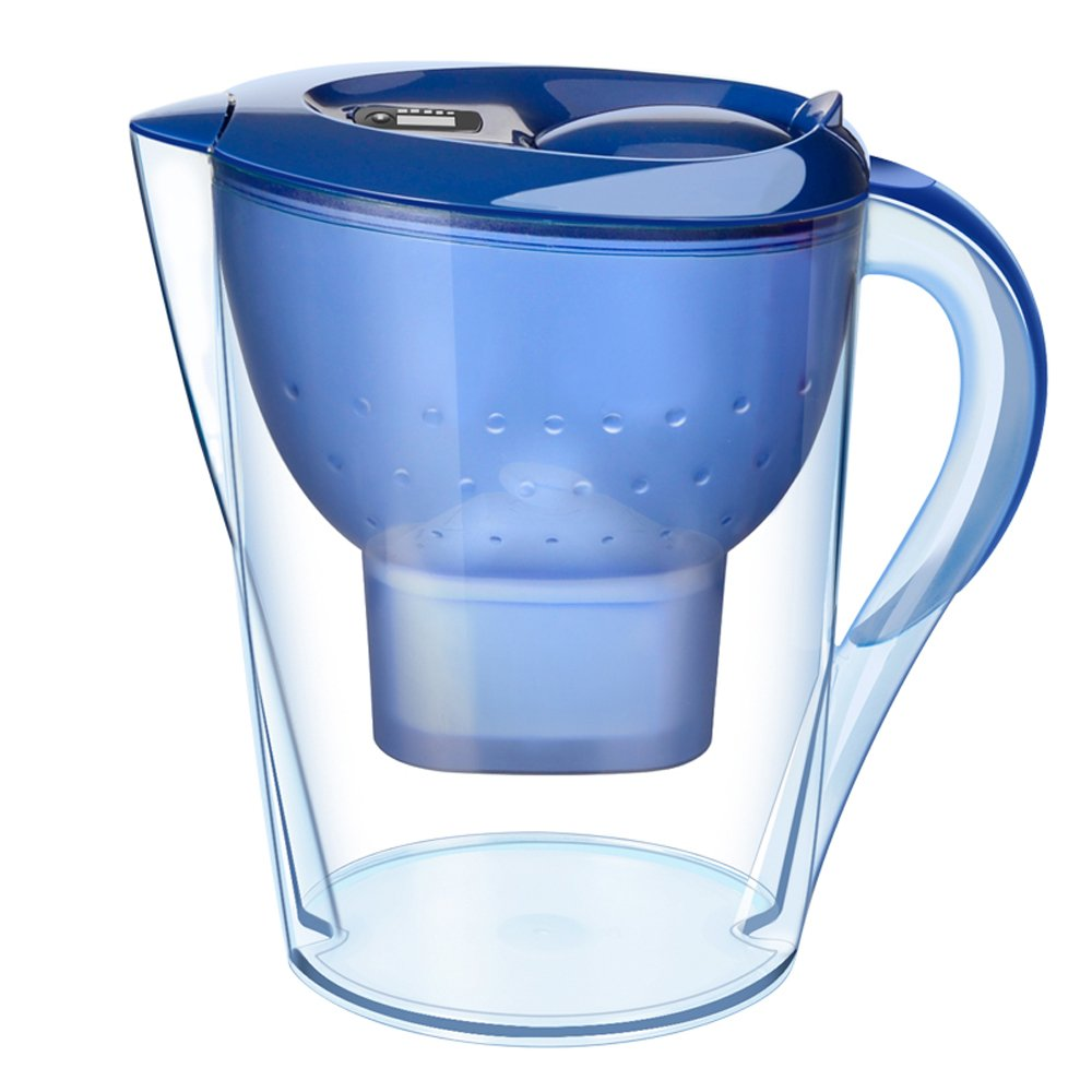 FengLi Water Filter Pitcher, Water Purifier,Water Cleaner 3.5 Liter Total & 2.0 Liter Filtered,BPA Free,with LED Indicator and 1 Filter—Blue