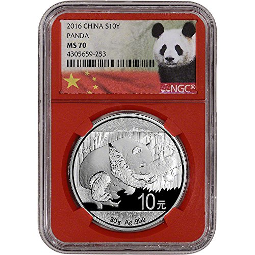 2016 CN China Silver Panda (30 g) Red Core Holder 10 Yuan MS70 NGC