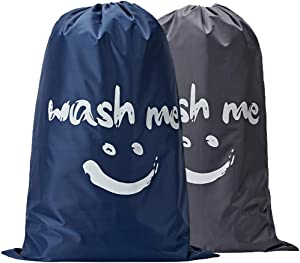 NISHEL Wash Me Laundry Bag 2 Packs, 28×40 inches Rips & Tears Resistant Large Dirty Clothes Storage Bag, Machine Washable, Heavy Duty Laundry Hamper Liner for College Students, Gray and Blue