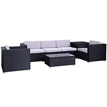 Rattan lounge schwarz  Amazon.de: POLY RATTAN Lounge Gartenset Schwarz Sofa Garnitur ...