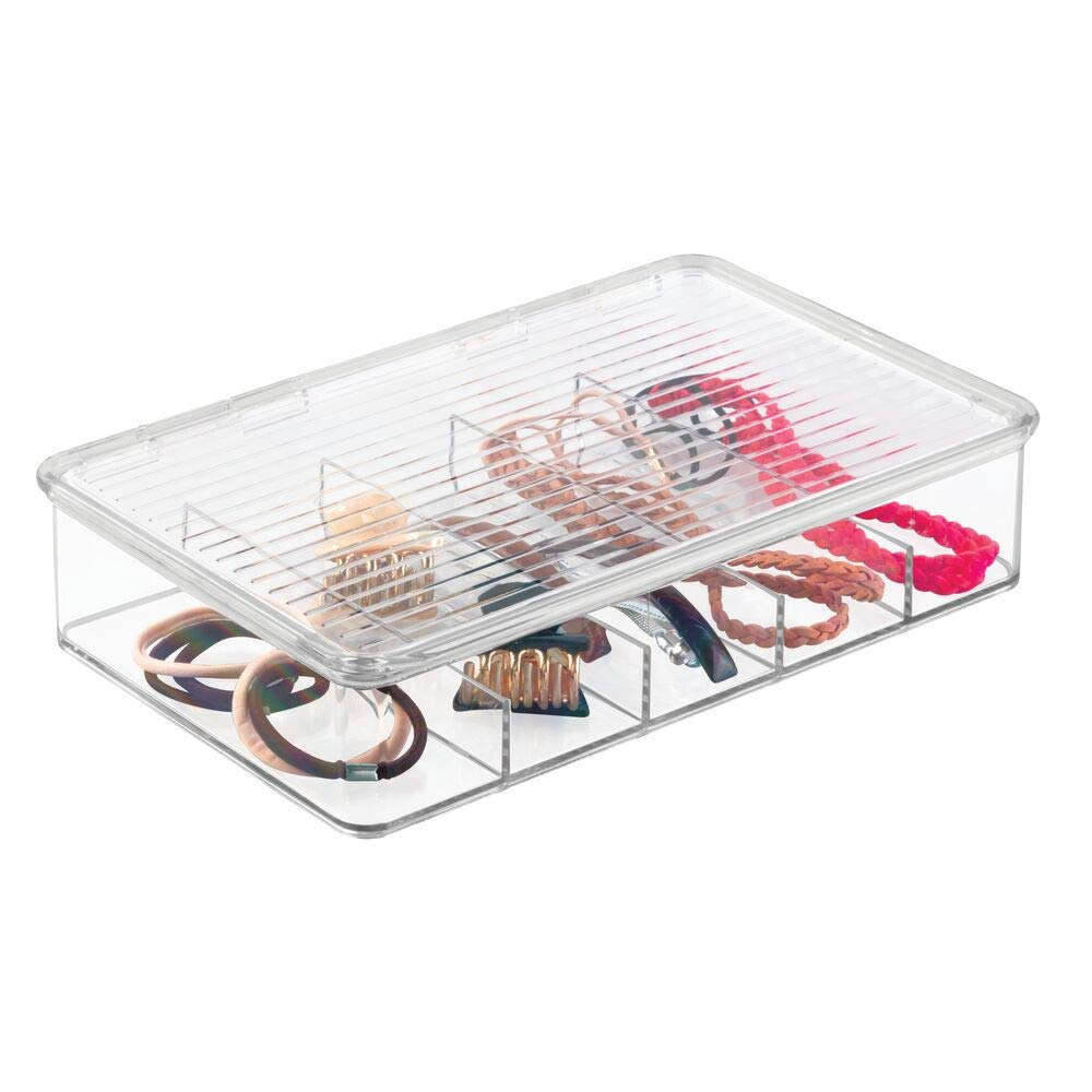 mDesign Plastic Hair Care and Accessories, Storage Organizer Box Holder for Bathroom Vanity to Hold Clips, Hot Rollers, Elastics, Bobby Pins - Clear