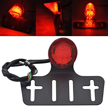 Red Motorcycle LED Stop Tail Light Harley Cafe Racer Bobber Chopper Universal