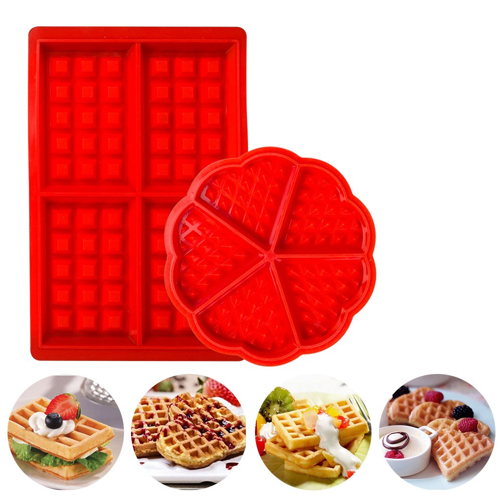 Waffles Baking Mould Silicone Round & Square Muffin Pans Molds Cake Chocolate Pan Kitchen Accessories Red Henweit