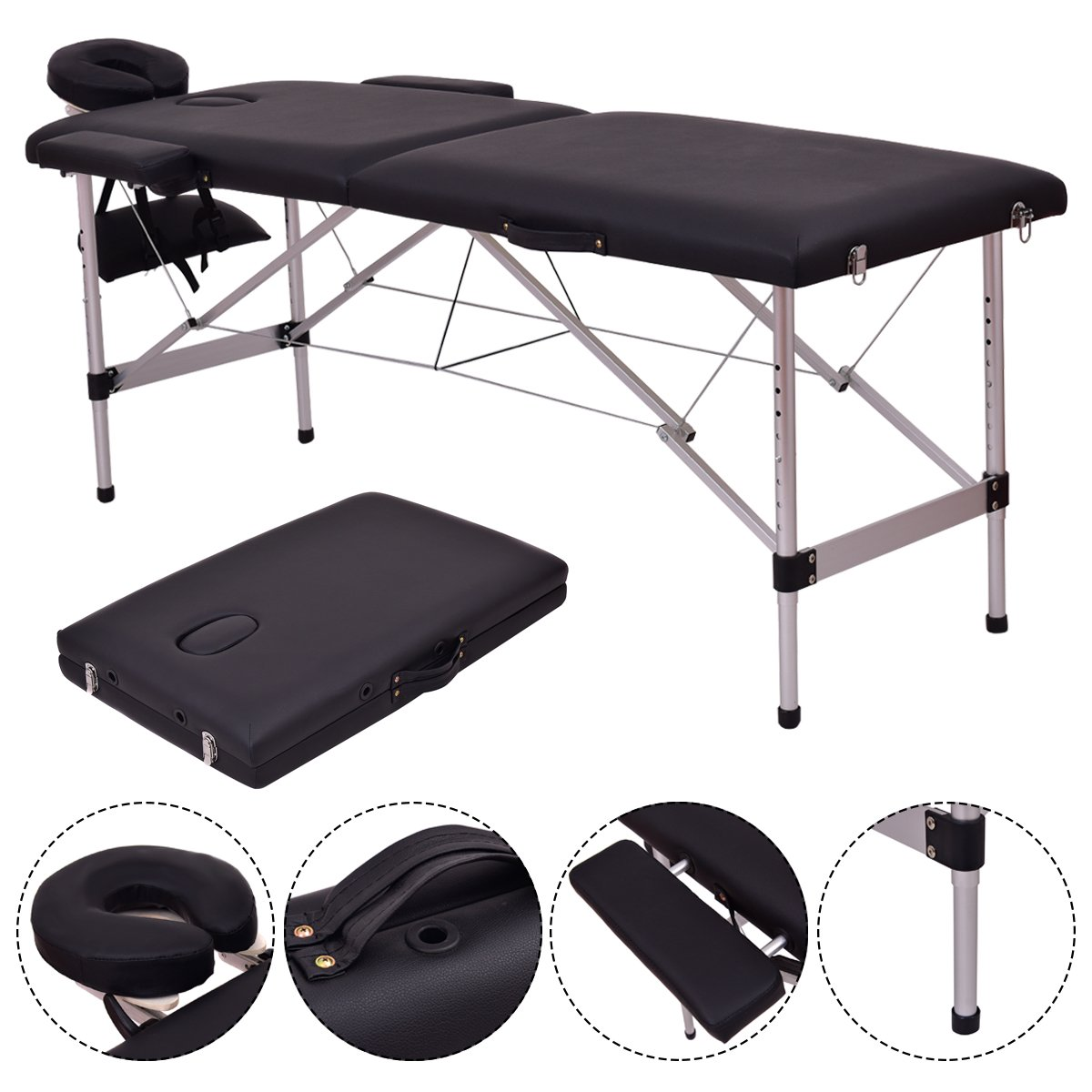 Giantex Portable Massage Table 84 L, 2 Section Facial SPA Professional Massage Bed, Aluminum Frame, Flex-Rest Face Cradle Side Armrests, Salon Massage Bed with Carry Case