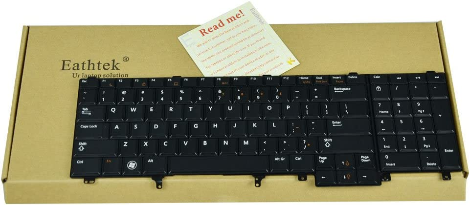 Eathtek Replacement Keyboard without Backlit and Pointer for Dell Latitude E5520 E5520m E5530 E6520 E6530 E6540 series Black US Layout, Compatible part number 0F5YDT F5YDT