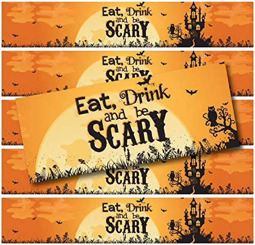 24 Halloween Water Bottle Labels | WATERPROOF | (Eat Drink & Be Scary Haunted House)