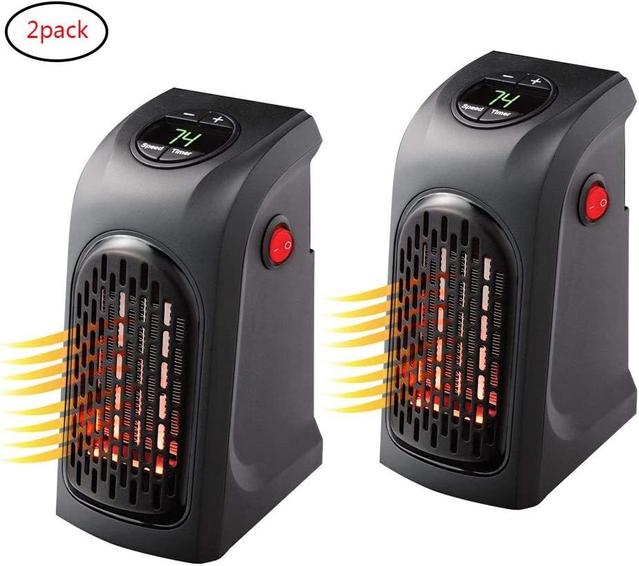 ACLBB 2Pack Mini Enchufe LED Calentador Eléctrico, Calentador De Aire Eléctrico Portátil 500 W, Negro, Oficina, Hogar, Hotel,Tal como SE VE EN TV