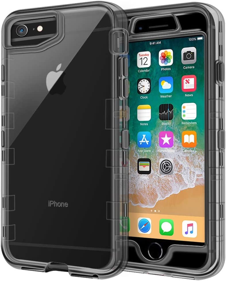 iPhone 6S Case, iPhone 6 Case, Anuck Crystal Clear 3 in 1 Heavy Duty Defender Case Shockproof Full-body Protective Case Hard PC Shell & Soft TPU Bumper Cover for Apple iPhone 6 /iPhone 6S, Clear Black