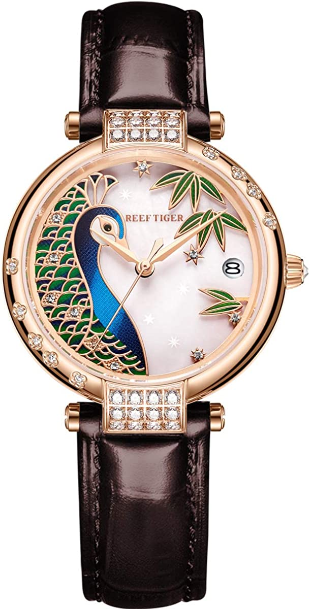 Reef Tiger Brand Luxury Gold Rose Peec Dial Women Pink Manufacturer regenerated product Automatic Colorado Springs Mall