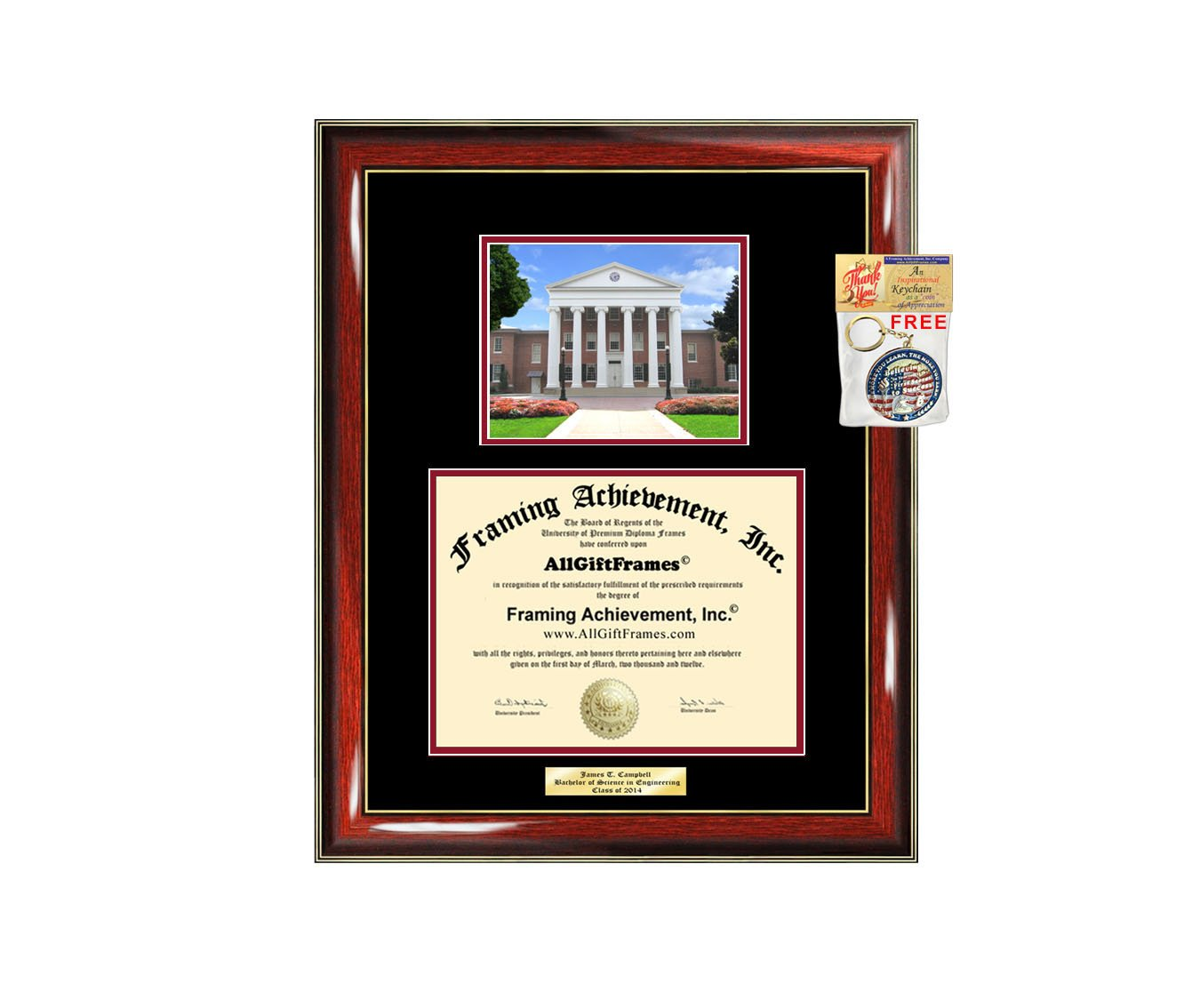 Diploma Frame University of Mississippi ole Miss Graduation Gift Idea Engraved Picture Frames Engraving Degree Graduate Bachelor Masters MBA PHD Doctorate School