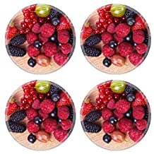 Luxlady Natural Rubber Round Coasters IMAGE ID: 22705577 Strawberries red currants raspberries and mulberry on a wooden background