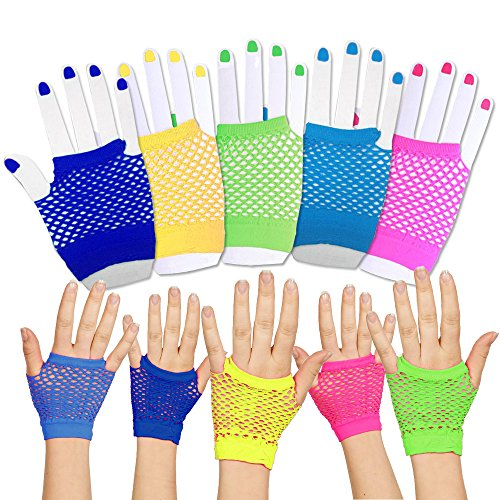 [Toy Cubby Funky Retro Style Colorful Fishnet Wrist Gloves - 24 Pieces] (Neon Party Outfits)