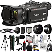 Canon XA30 HD Professional Video Camcorder + Tripod + Monopod + Action Stabilizer + 128GB + LED Light + Backpack + 3 Extra Batteries + HandGrip Handle + Mic + Telephoto Macro Lense Kit + Filter Bundle