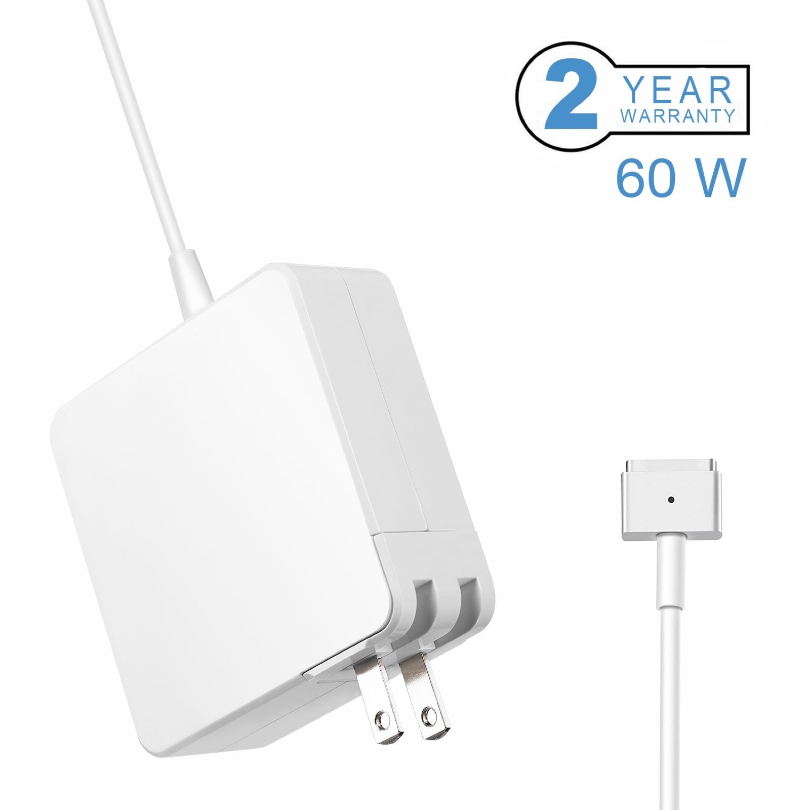 Macbook Pro Charger, Replacement 60W Power Adapter Magsafe 2 (T) Style Connector for Apple Macbook Pro with 13-inch Retina display - After Late 2012 by Lighteck