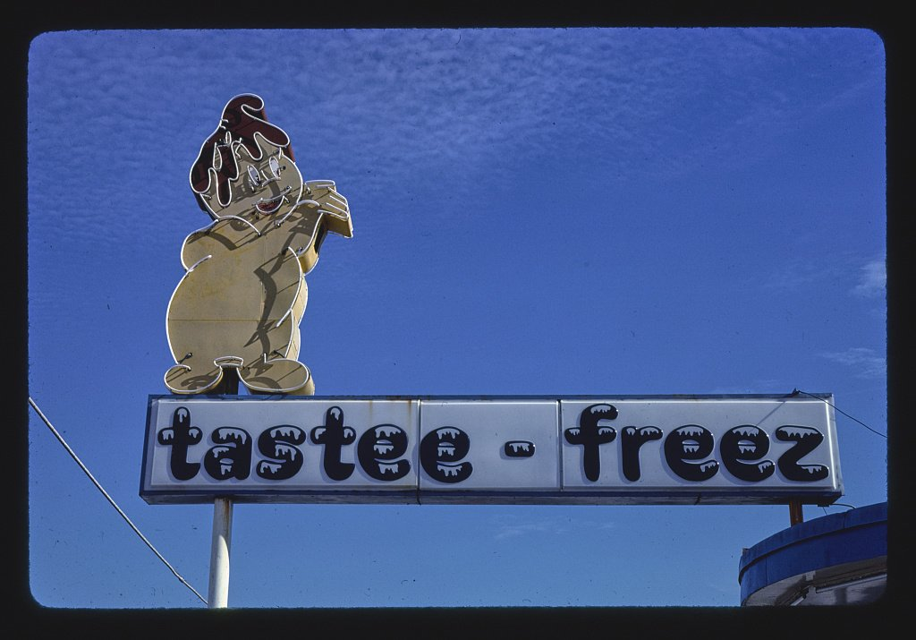 Vintography 16 x 24 Photo of Tastee-Freez Sign, Jacksonville, North Carolina 1979 Ready to Frame 08a