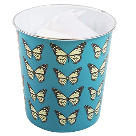 Blue JVL Butterfly Design Plastic Rubbish Wastepaper Waste Paper Bin