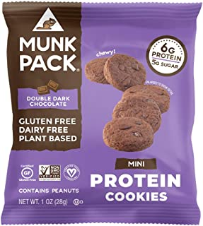 product image for Munk Pack Mini Protein Cookies, Double Dark Chocolate, 8 Pack, 6 Grams of Protein, Cookie Snack Pack, Vegan, Gluten Free, Dairy Free, Soy Free, Chewy
