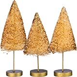 Primitives By Kathy 5 Inches 6 Inches and 7 Inches Tall Bristle Glitter Wire Sisal Set Christmas Trees