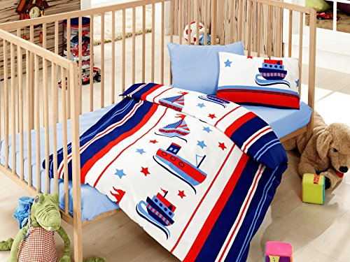 Sailor, 100% Cotton Baby Boys Crib Bedding, Baby Duvet Cover Set, Baby Comforter Included, Made in Turkey - 5 Pieces (Sailor Blue) ()