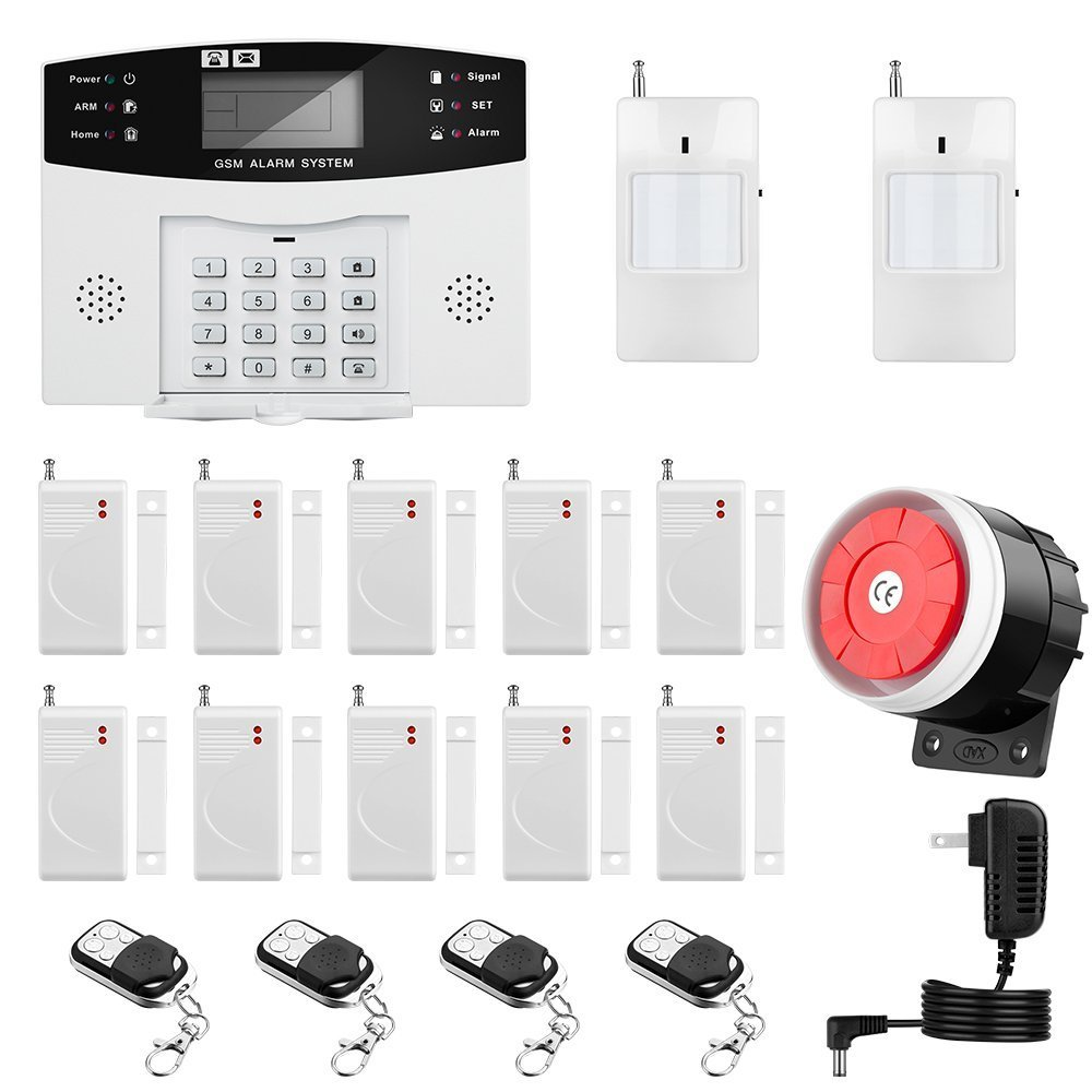 Thustar Home Alarm System Wirelss GSM Security System Kit Remote Control Intelligent LED Display Voice Prompt House Office Business Burglar Alarm Auto Dial 120DB Siren by THUSTAR