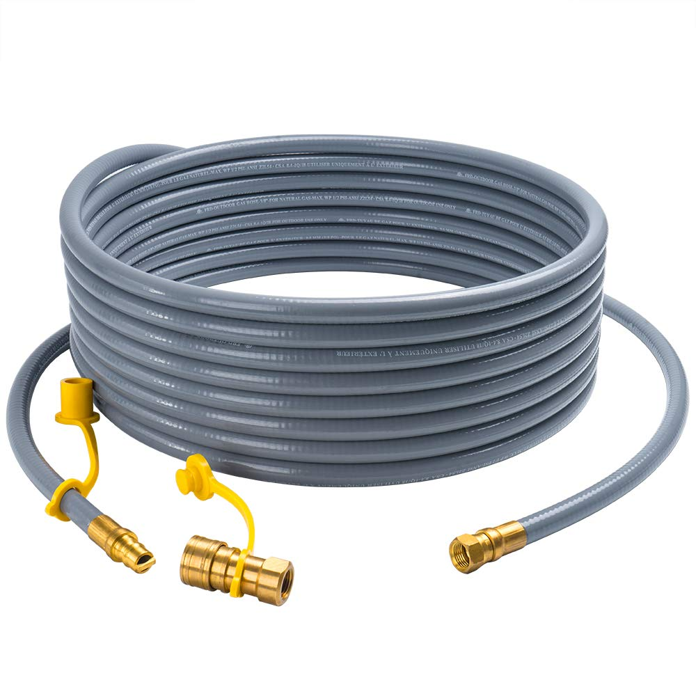 X Home 36 Feet Natural Gas and Propane Gas Hose Assembly 3/8'' Female Pipe Thread x 3/8'' Male Flare Quick Connect/Disconnect Fittings for Low Pressure Appliance