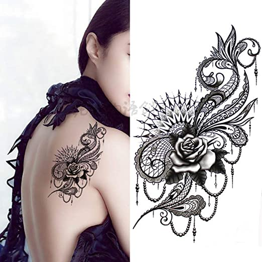 Modeganqing 5 Piezas de Arte de Cuerpo de Flor Grande Negro ...