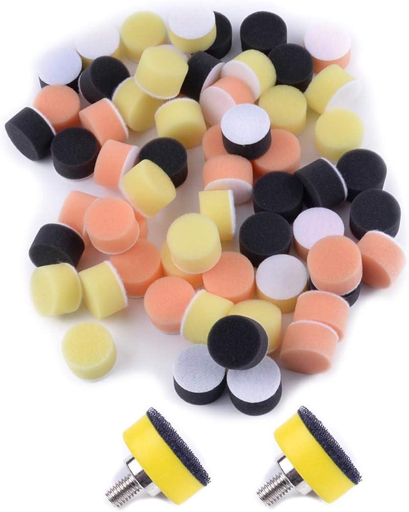 beler 2pcs 1 25mm M6 Backer Plate /& 60pcs Mixed Sponge Buffing Polishing Pads