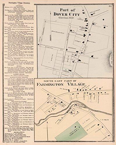 County Atlas   1871 Part of Dover City (Garrison Hill). South East Part of Farmington Village, New Hampshire.   Historic Antique Vintage Map - Hills South Village