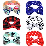 Baby Bows Headbands Bowknot Hair Wraps Butterfly Knot Multicolor Hoops for Newborn Toddlers Girls(6 pack)