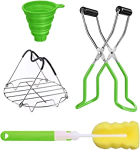 4Pcs Canning Kit Canning Supplies,Canning Jar Lifter with Stainless Steel Canning Tongs Steamer Canning Rack Silicone Folding Funnel and Sponge Cleaning Brush for Home Canning Starter Kit,Green