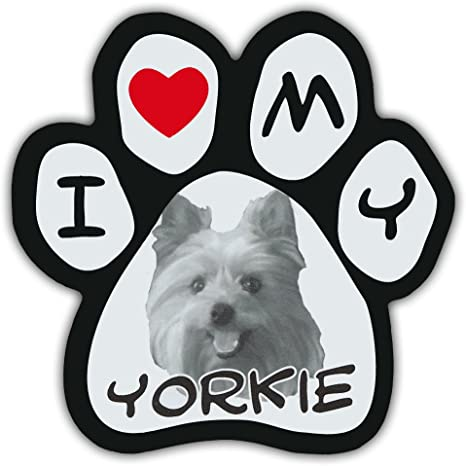 Amazon Com Picture Paws Dog Paw Shaped Magnets I Love My Yorkie Yorkshire Terrier Kitchen Dining