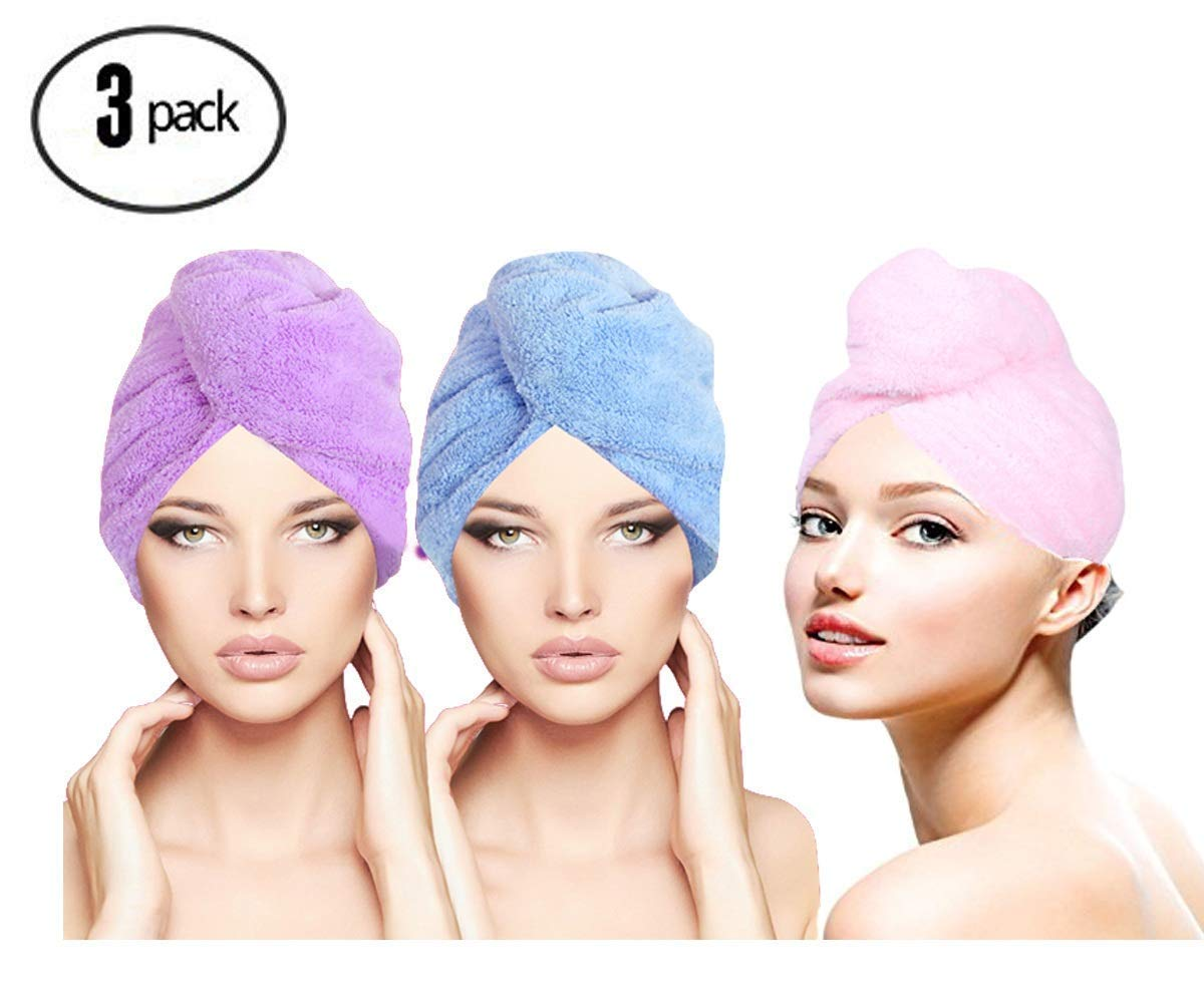 ForNeat Hair Wrap Towel Hair Turban,Fast Drying Hair Towels for Women,Microfiber Hair Towel with Buttons, Bath Hair Cap(Purple+Pink+Blue)